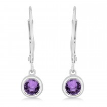 Leverback Dangling Drop Amethyst Earrings 14k White Gold (0.50ct)
