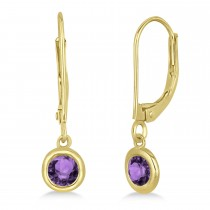 Leverback Dangling Drop Amethyst Earrings 14k Yellow Gold (0.50ct)