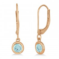 Leverback Dangling Drop Aquamarine Earrings 14k Rose Gold (0.50ct)