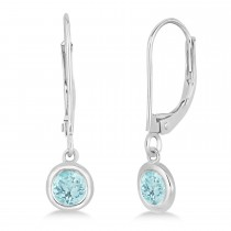 Leverback Dangling Drop Aquamarine Earrings 14k White Gold (0.50ct)
