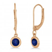 Leverback Dangling Drop Blue Sapphire Earrings 14k Rose Gold (0.50ct)