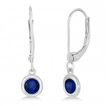 Leverback Dangling Drop Blue Sapphire Earrings 14k White Gold (0.50ct)