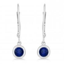 Leverback Dangling Drop Blue Sapphire Earrings 14k White Gold (0.50ct)