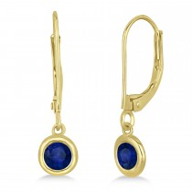 Leverback Dangling Drop Blue Sapphire Earrings 14k Yellow Gold (0.50ct)