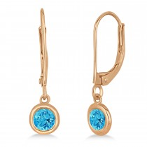 Leverback Dangling Drop Blue Topaz Earrings 14k Rose Gold (0.50ct)