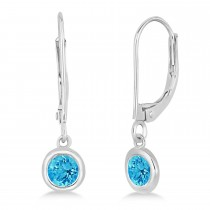 Leverback Dangling Drop Blue Topaz Earrings 14k White Gold (0.50ct)