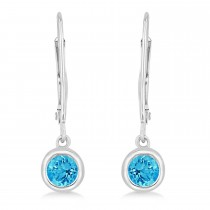 Leverback Dangling Drop Blue Topaz Earrings 14k White Gold (0.50ct)|escape