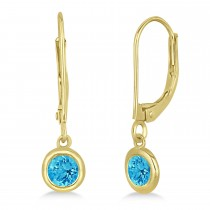 Leverback Dangling Drop Blue Topaz Earrings 14k Yellow Gold (0.50ct)