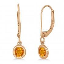 Leverback Dangling Drop Citrine Earrings 14k Rose Gold (0.50ct)