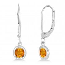 Leverback Dangling Drop Citrine Earrings 14k White Gold (0.50ct)