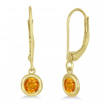 Leverback Dangling Drop Citrine Earrings 14k Yellow Gold (0.50ct)