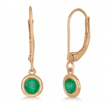 Leverback Dangling Drop Emerald Earrings 14k Rose Gold (0.50ct)