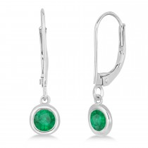 Leverback Dangling Drop Emerald Earrings 14k White Gold (0.50ct)