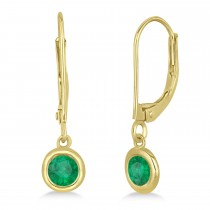 Leverback Dangling Drop Emerald Earrings 14k Yellow Gold (0.50ct)