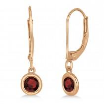 Leverback Dangling Drop Garnet Earrings 14k Rose Gold (0.50ct)