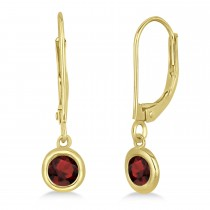 Leverback Dangling Drop Garnet Earrings 14k Yellow Gold (0.50ct)