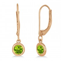 Leverback Dangling Drop Peridot Earrings 14k Rose Gold (0.50ct)