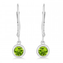 Leverback Dangling Drop Peridot Earrings 14k White Gold (0.50ct)|escape