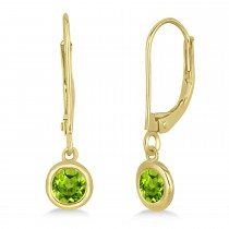 Leverback Dangling Drop Peridot Earrings 14k Yellow Gold (0.50ct)