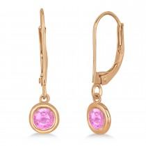 Leverback Dangling Drop Pink Sapphire Earrings 14k Rose Gold (0.50ct)
