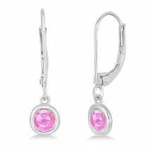 Leverback Dangling Drop Pink Sapphire Earrings 14k White Gold (0.50ct)