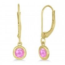 Leverback Dangling Drop Pink Sapphire Earrings 14k Yellow Gold (0.50ct)