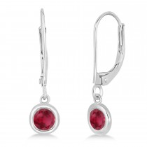 Leverback Dangling Drop Ruby Earrings 14k White Gold (0.50ct)