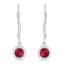Leverback Dangling Drop Ruby Earrings 14k White Gold (0.50ct)