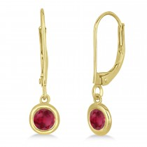 Leverback Dangling Drop Ruby Earrings 14k Yellow Gold (0.50ct)