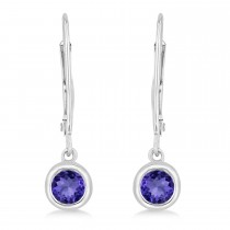 Leverback Dangling Drop Tanzanite Earrings 14k White Gold (0.50ct)