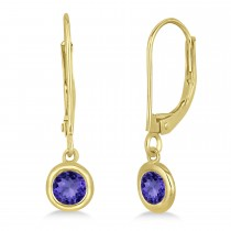 Leverback Dangling Drop Tanzanite Earrings 14k Yellow Gold (0.50ct)