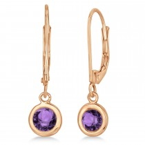 Leverback Dangling Drop Amethyst Earrings 14k Rose Gold (1.00ct)