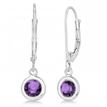 Leverback Dangling Drop Amethyst Earrings 14k White Gold (1.00ct)