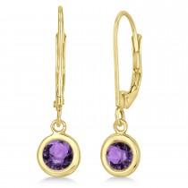 Leverback Dangling Drop Amethyst Earrings 14k Yellow Gold (1.00ct)