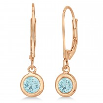 Leverback Dangling Drop Aquamarine Earrings 14k Rose Gold (1.00ct)