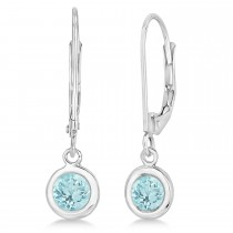 Leverback Dangling Drop Aquamarine Earrings 14k White Gold (1.00ct)