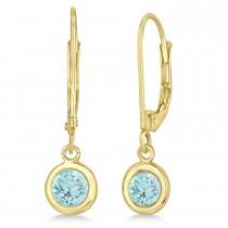 Leverback Dangling Drop Aquamarine Earrings 14k Yellow Gold (1.00ct)