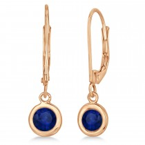 Leverback Dangling Drop Blue Sapphire Earrings 14k Rose Gold (1.00ct)