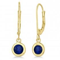 Leverback Dangling Drop Blue Sapphire Earrings 14k Yellow Gold (1.00ct)
