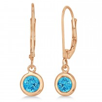 Leverback Dangling Drop Blue Topaz Earrings 14k Rose Gold (1.00ct)