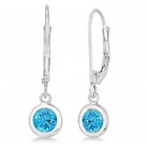 Leverback Dangling Drop Blue Topaz Earrings 14k White Gold (1.00ct)