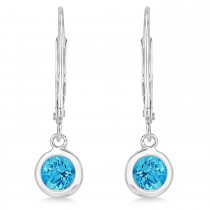 Leverback Dangling Drop Blue Topaz Earrings 14k White Gold (1.00ct)