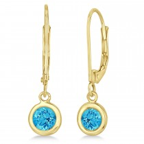 Leverback Dangling Drop Blue Topaz Earrings 14k Yellow Gold (1.00ct)