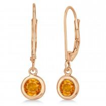 Leverback Dangling Drop Citrine Earrings 14k Rose Gold (1.00ct)