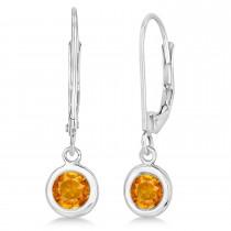 Leverback Dangling Drop Citrine Earrings 14k White Gold (1.00ct)