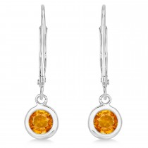 Leverback Dangling Drop Citrine Earrings 14k White Gold (1.00ct)