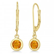 Leverback Dangling Drop Citrine Earrings 14k Yellow Gold (1.00ct)