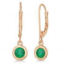 Leverback Dangling Drop Emerald Earrings 14k Rose Gold (1.00ct)
