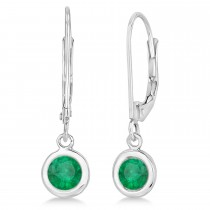 Leverback Dangling Drop Emerald Earrings 14k White Gold (1.00ct)