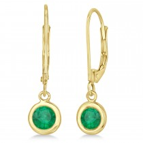 Leverback Dangling Drop Emerald Earrings 14k Yellow Gold (1.00ct)